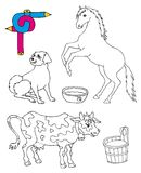 Coloring image animals. Vector illustration Royalty Free Stock Photography