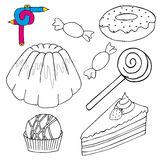 Coloring image cakes collection Royalty Free Stock Photo