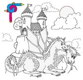 Coloring image castle Stock Photography