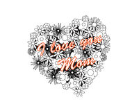 Coloring image - heart for mothers day Royalty Free Stock Photo