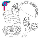 Coloring image Mexico collection 02 vector illustration
