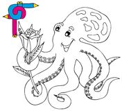 Coloring image octopus Stock Photography