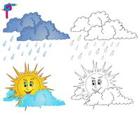 Coloring image weather 4. Vector illustration vector illustration