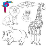 Coloring image wild animals 01. Vector illustration royalty free illustration
