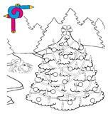 Coloring image Xmas tree Royalty Free Stock Photo