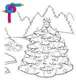 Coloring image Xmas tree. Vector illustration Royalty Free Stock Photo