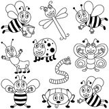 Coloring Insects for Kids. Collection of ten funny cartoon insects (three bees, a dragonfly, a bluebottle, an ant, a ladybug, a worm, a butterfly and a spider) vector illustration