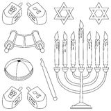 Coloring Judaism Elements. A collection of Jewish elements and symbols (star of David, menorah, kippa, pointer, Torah scroll and dreidels), black and white Stock Photo