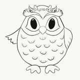 Coloring for kids, funny owl boy stock illustration