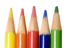 Coloring Leads. Bright and colorful coloring pencils isolated stock images