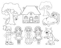 Coloring. Little red riding hood. Big set for education. Stock Photo