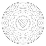 Coloring Lovely Heart Ornament. Vector coloring art lovely heart round ornament stock illustration