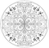 Coloring mandala with ladybirds. Decorative floral coloring mandala with ladybirds on a white background Royalty Free Stock Image