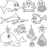 Coloring Marine Animals [1]. Collection of ten funny cartoon marine animals (dolphin, octopus, jellyfish, swordfish or marlin, whale, mollusc or shellfish Stock Photography