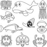 Coloring Marine Animals [2]. Collection of ten funny cartoon marine animals (alga, orca, jellyfish, mollusc or shellfish, oyster, sea turtle, crab and fishes) Royalty Free Stock Photos