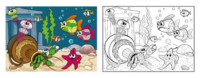 The coloring of marine life on the seabed. Vector coloring image in a cartoon style, marine life on the seabed Royalty Free Stock Photos