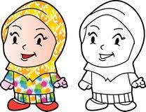 Coloring Melayu Muslim girl - Vector Illustration stock illustration