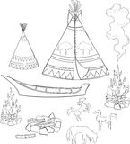 Coloring native american set Royalty Free Stock Photo