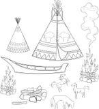 Coloring native american set Royalty Free Stock Photo