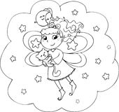 Coloring night fairy girl. Fairy lady flying in a starry night. Coloring illustration for little children Royalty Free Stock Photos
