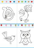 Coloring by numbers. Set 1. Coloring book by numbers. Vectorial Royalty Free Stock Photos