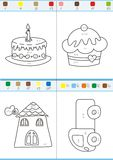 Coloring by numbers. Set 3. Coloring book by numbers. Vectorial Stock Images