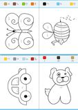 Coloring by numbers. Set 6. Coloring book by numbers. Vectorial Royalty Free Stock Images