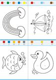 Coloring by numbers. Set 4. Coloring book by numbers. Vectorial Stock Photo