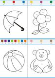 Coloring by numbers. Set 5. Coloring book by numbers. Vectorial Royalty Free Stock Photography