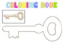 Coloring old metal key. On white background Stock Photos
