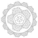 Coloring Outline Mandala Flower Stock Photography