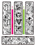 Coloring page abstract elements bookmarks Royalty Free Stock Image