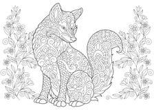 Zentangle wild fox and wildflowers Royalty Free Stock Photo