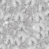Coloring page for adult coloring book.seamless background.palm leaves,black and white. Royalty Free Stock Photography