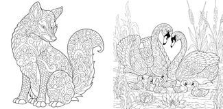 Wild fox and swans family. Coloring Page. Adult Coloring Book set. Wild Fox animal. Swan birds couple for Valentines or Family Day vintage greeting card royalty free illustration
