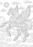 Zentangle pegasus horse Stock Photos