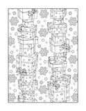 Coloring page for adults, or black and white ornamental background stock illustration