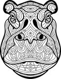 Coloring page for adults. The head of the mighty Behemoth Stock Photo