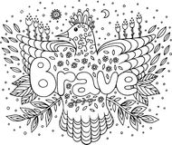 Coloring page for adults with mandala and brave word. Doodle let. Tering ink outline artwork. Vector illustration vector illustration