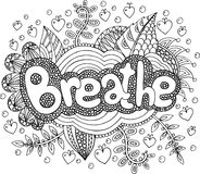 Coloring page for adults with mandala and breathe word. Doodle l. Ettering ink outline artwork. Vector illustration Royalty Free Stock Images