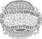 Coloring page for adults with mandala and peaceful word. Doodle. Lettering ink outline artwork. Vector illustration stock illustration