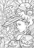 Witch surrounded by friendly ghosts Vector Illustration