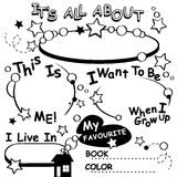 Coloring Page All about me. Vector Editable Royalty Free Stock Photography