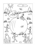 Coloring page with apple and ants Royalty Free Stock Photo