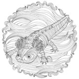 Coloring page with axolotl in patterned style. Coloring page with cute axolotl in patterned style. Black white hand drawn doodle with amphibian for art therapy royalty free illustration