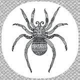 Coloring page of  Balck Spider, zentangle illustartion Royalty Free Stock Image