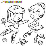 Coloring page ballerina girls dancing Stock Photos