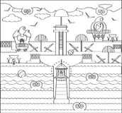 Coloring Page with Beach, Lighthouse Royalty Free Stock Image