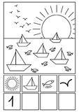 Coloring page Beach math game. Beach with boats on the sea, fishes, birds and sun Stock Photography
