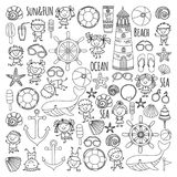 Coloring page Beach set with children Kindergarten or school vacation Small kids, Nursery, Sea, Ocean, Lighthouse. Boys Stock Photography
